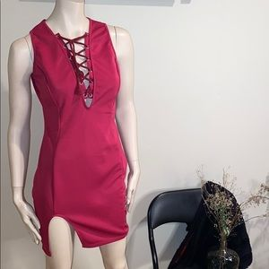 Dark pink lace front dress